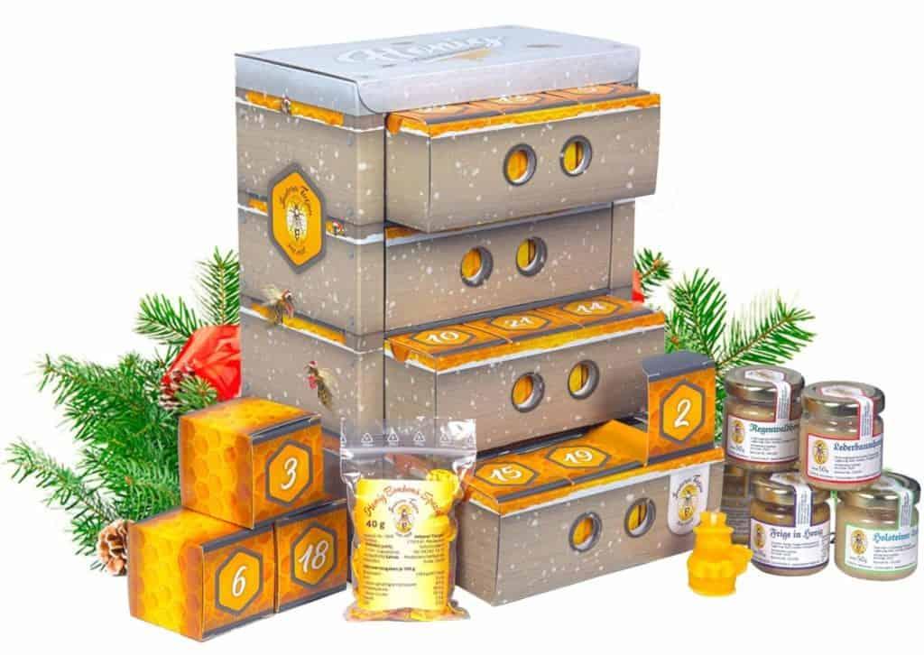 Honig Adventskalender in hochwertiger Bienenkasten-Optik – naturbelassener Honig zum Verschenken oder Kennenlernen