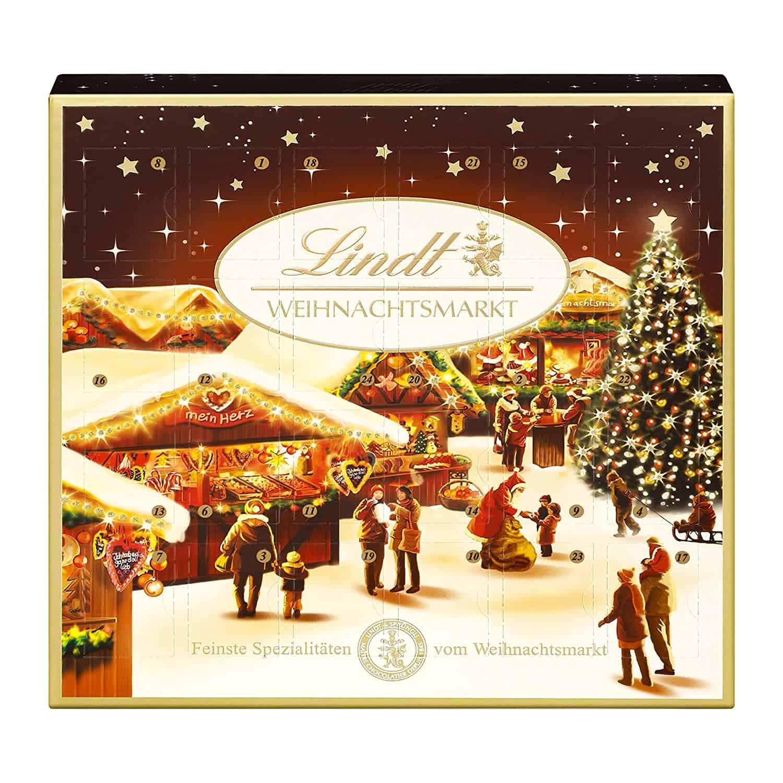 Lindt Weihnachtsmarkt Mini-Tisch-Adventskalender (24 verschiedene Mini Schokoladen-Kugeln)
