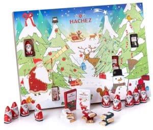 Hachez Adventskalender mit Edel Vollmilch Schokolade