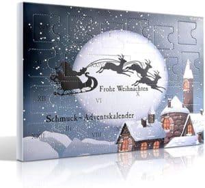 MJARTORIA Schmuck Adventskalender 2021 Damen Mädchen Frauen Kinder Xmas Weihnachtskalender mit 24 Überraschungen Choker Kette Brosche Button Charms