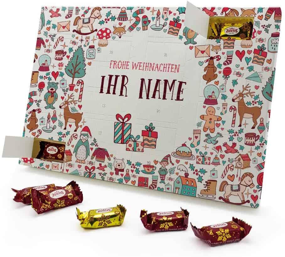 Marzipan Adventskalender mit eigenem Namen - gefüllt mit Zentis® Pralinés aus Edelmarzipan