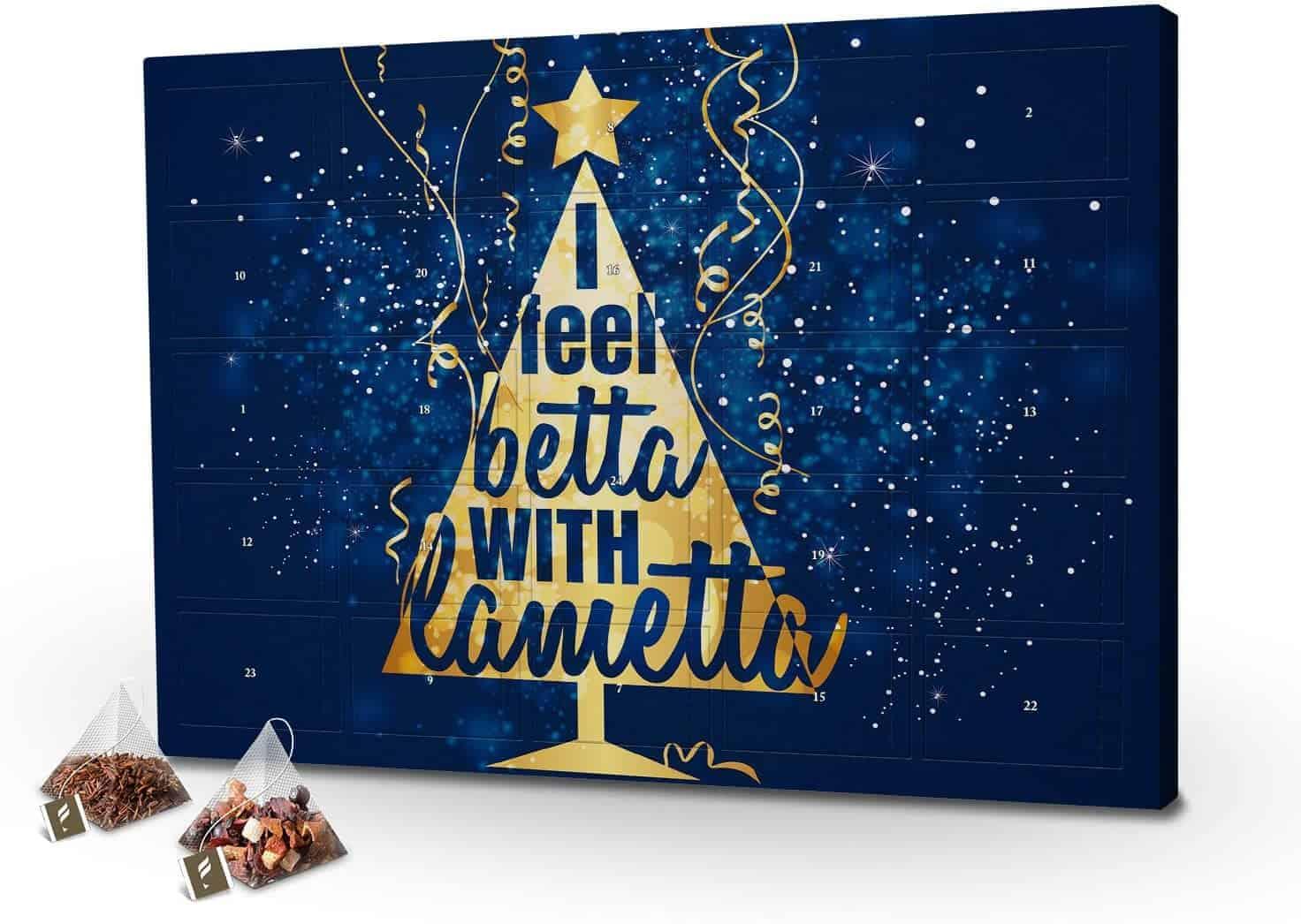 Tee-Adventskalender XL i Feel Betta with Lametta mit 24 hochwertigen Teefüllungen von Floragold mit Spruch